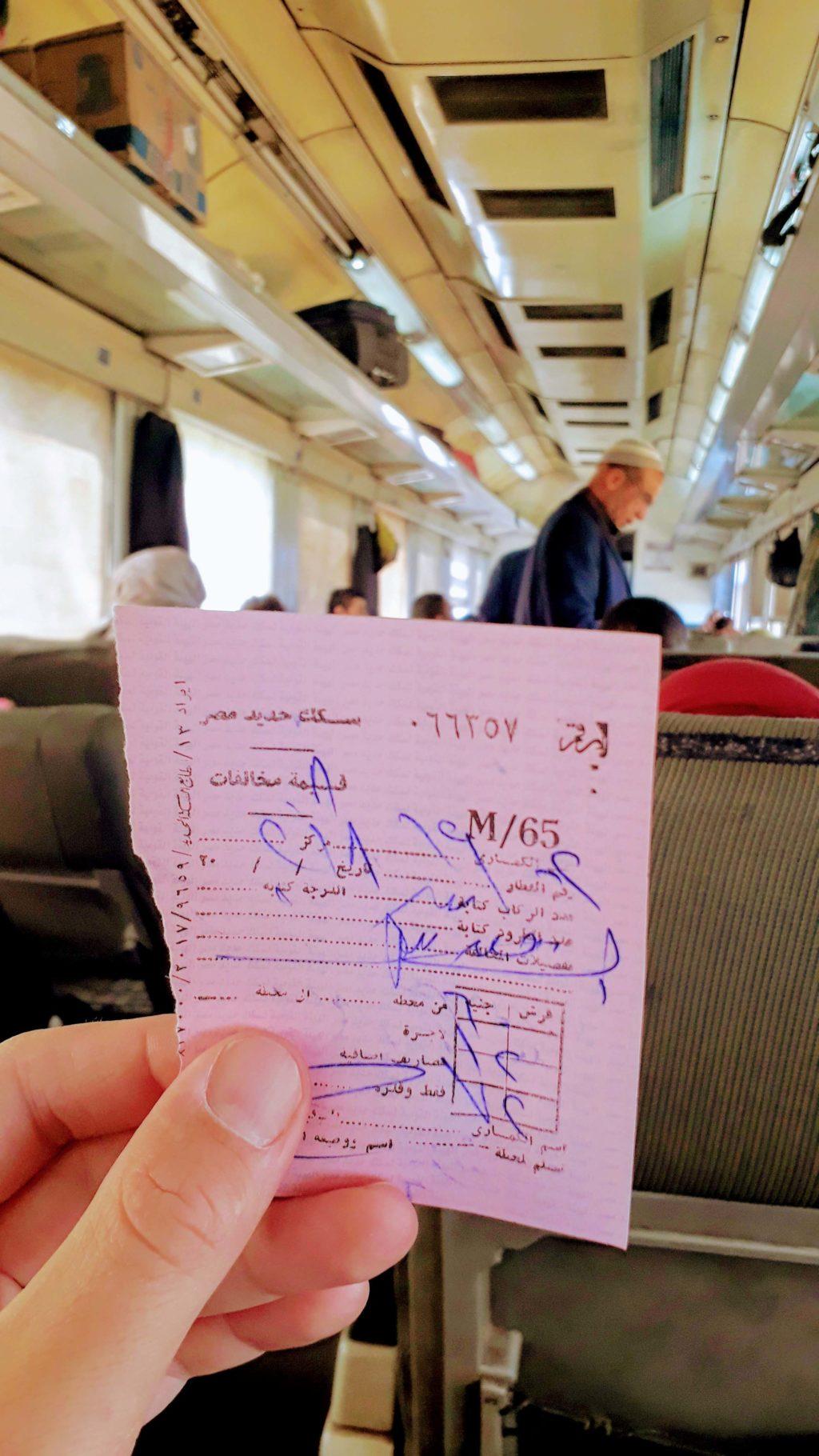 Ticket im Zug nach Assuan