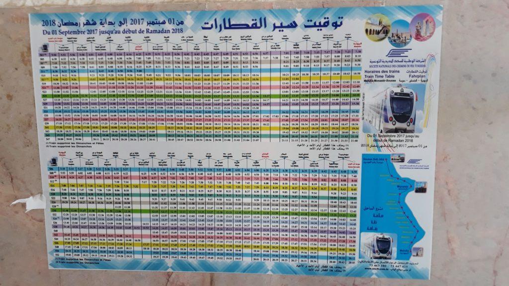 Fahrplan der Nahverkehrsbahn Métro du Sahel