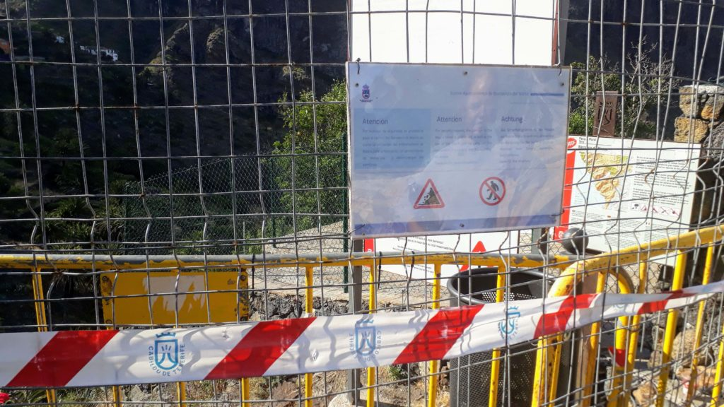Absperrung am Eingang zur Masca-Schlucht auf Teneriffa