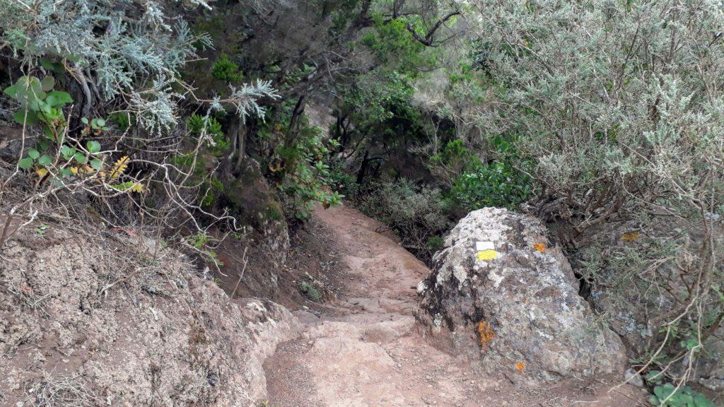 Die weiß-gelbe Markierung auf dem Fels bestätigt den richtigen Wanderweg