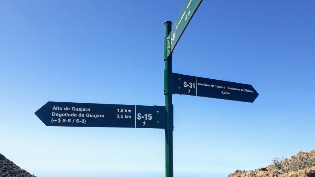Weggabelung: Vom Sendero 31 geht es jetzt auf den Sendero 15 zum Alto de Guajara