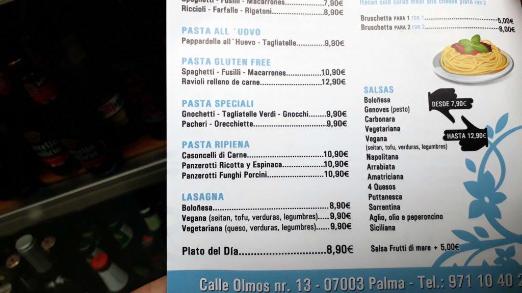 Bei Armonia Pizzeria y Cafeteria in Palma gibt es nicht nur vegane Pizza, sondern auch Lasagne und Nudeln