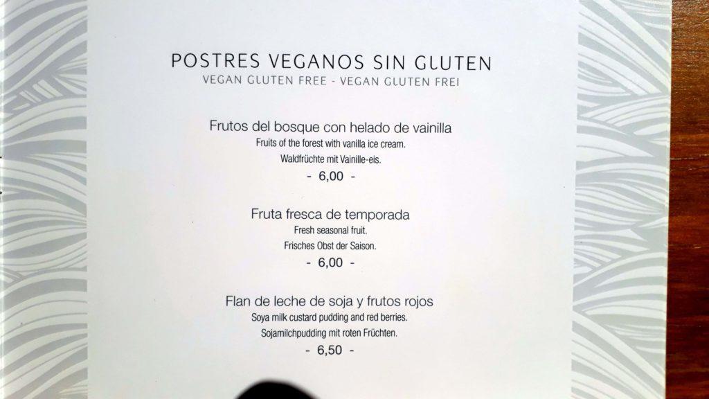Vegane und glutenfreie Nachtische bei Mirablau in der Cala Mesquida, Mallorca