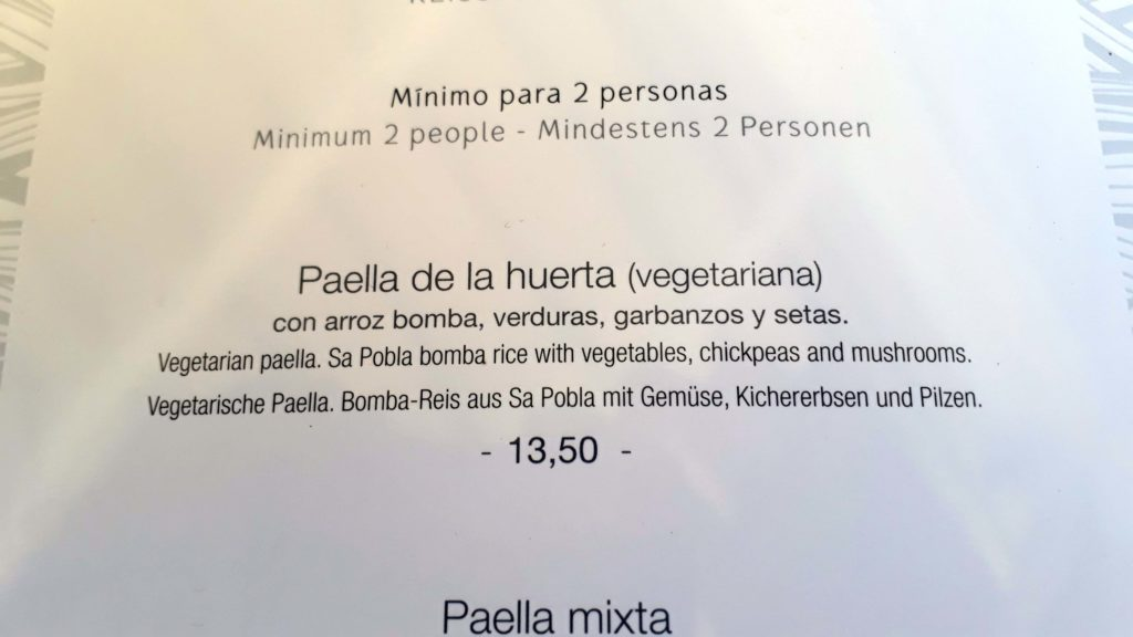 Vegane Paella bei Mirablau in der Cala Mesquida, Mallorca