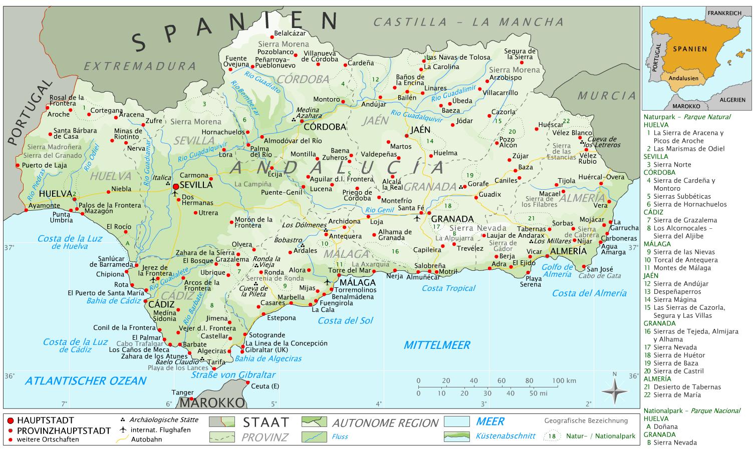 Malaga Altstadt Karte.Andalusien Die Schonsten Orte Sehenswurdigkeiten The