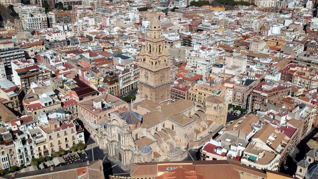Die Kathedrale von Murcia von oben