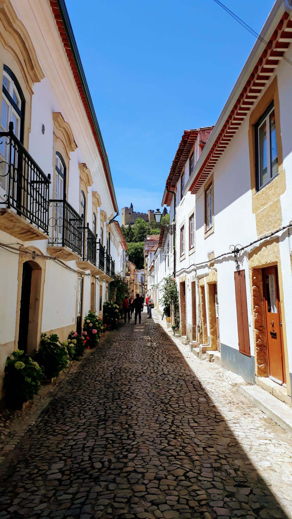 Alley in Tomar with view at Convento de Cristo