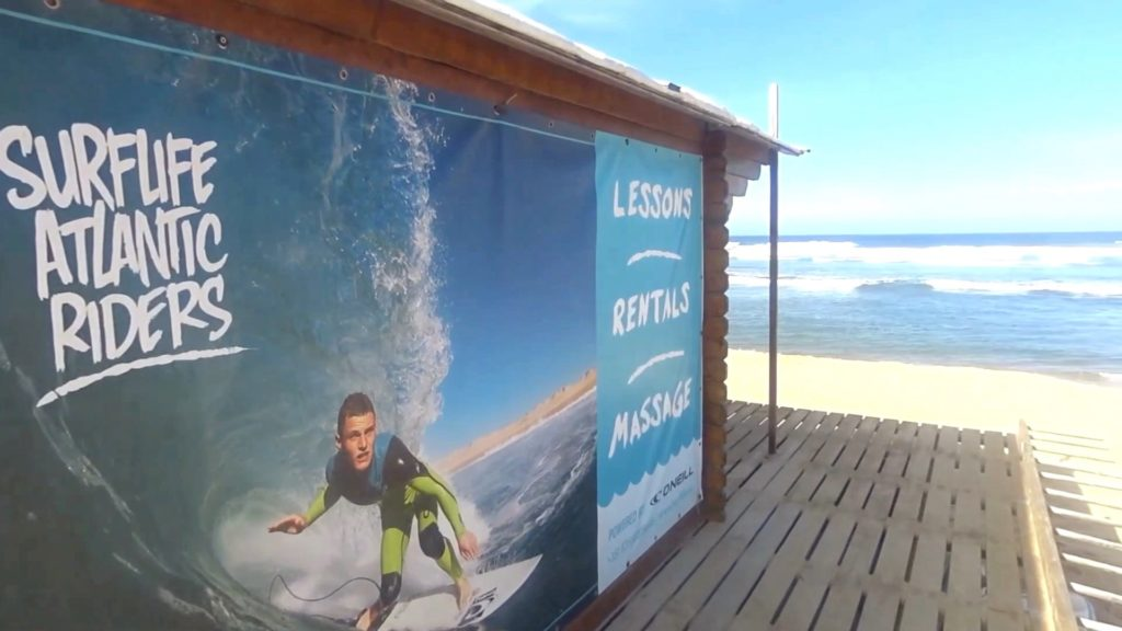 The beach hut of the Surflife Atlantic Riders at Praia da Amoreira