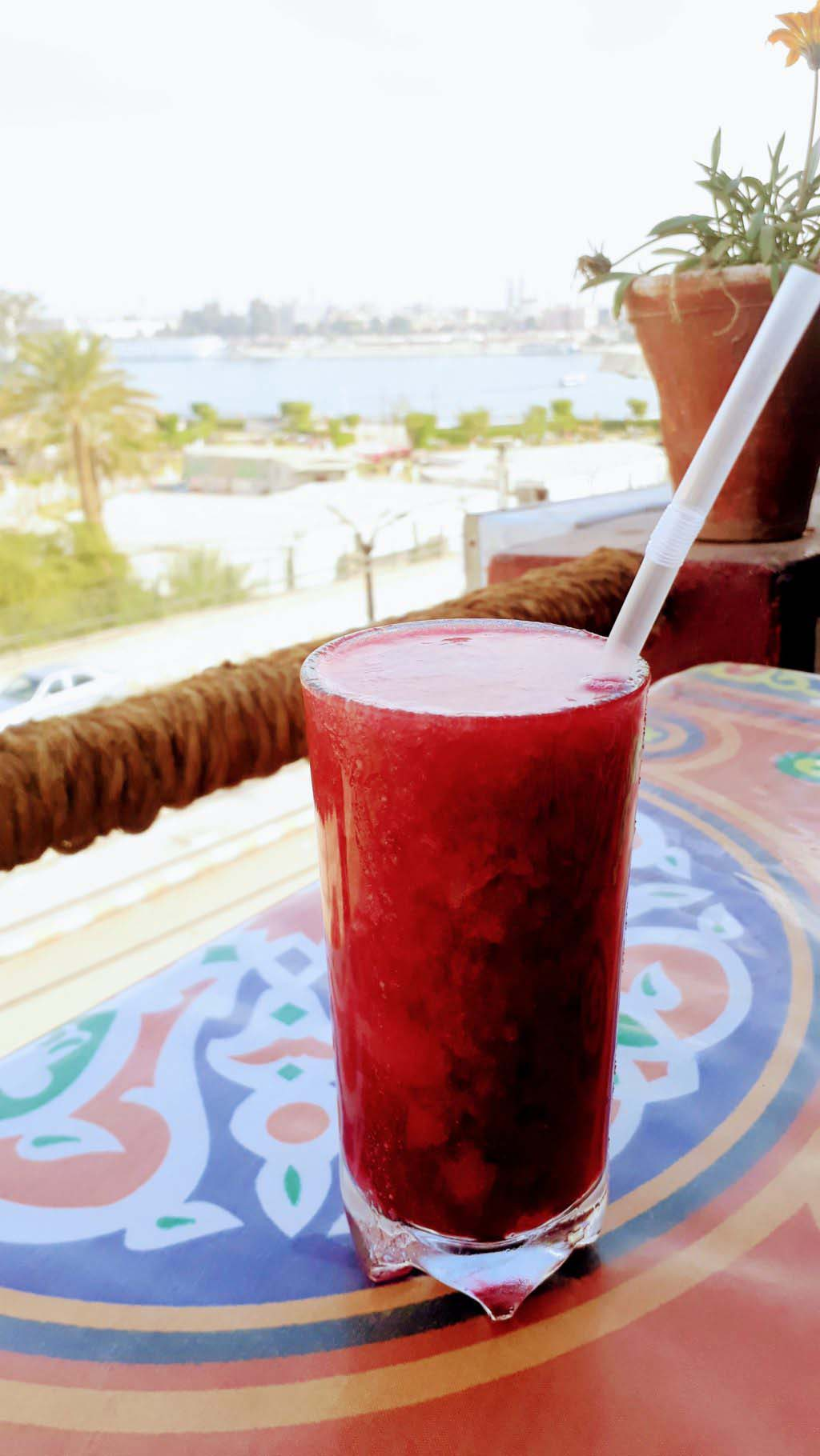 Freshly squeezed juice with Nile in the background