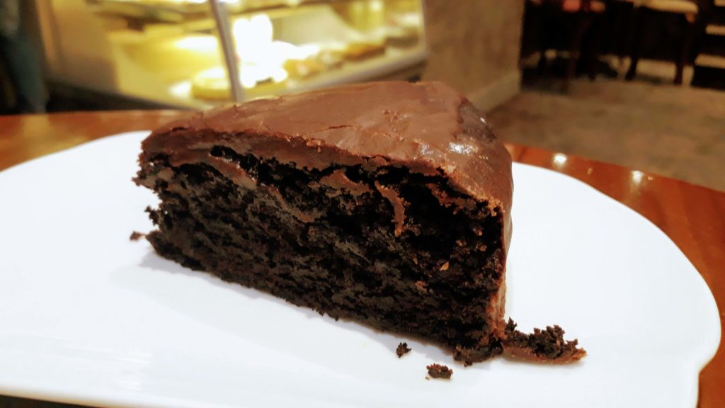 Vegan chocolate cake in the Cake Café