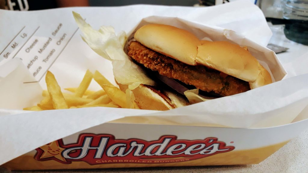 Veggie burger from the US fast food chain Hardee's