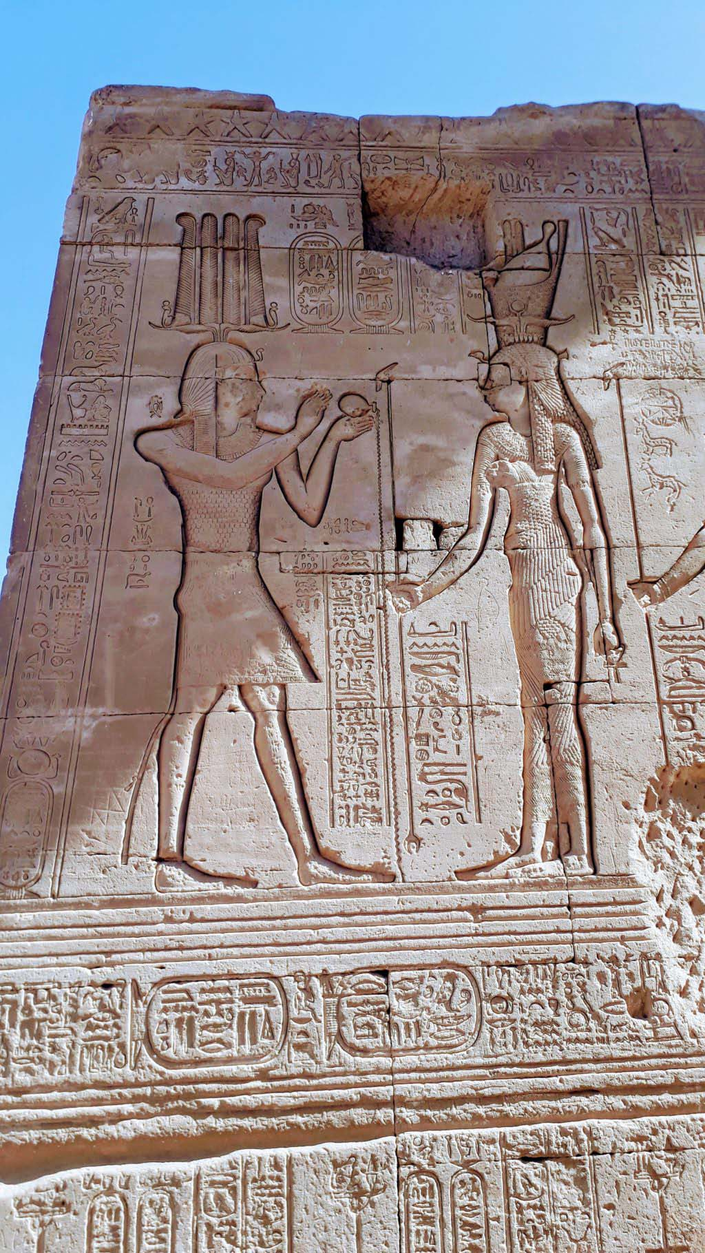 Hieroglyphs at the Dendera Temple complex