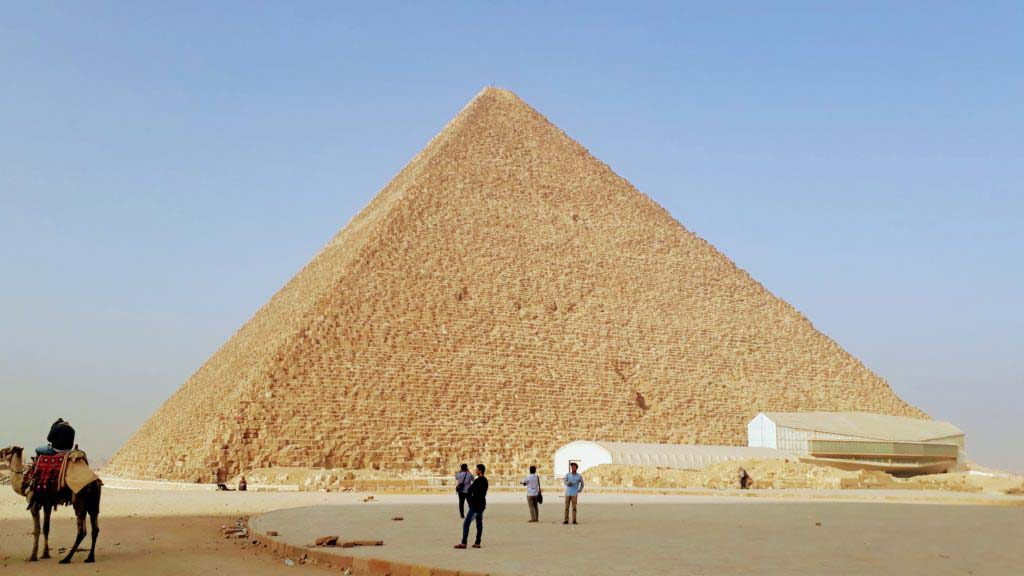 The Pyramid of Khufu, the oldest and largest of the three pyramids of Giza, was for nearly 4,000 years the tallest structure of its time