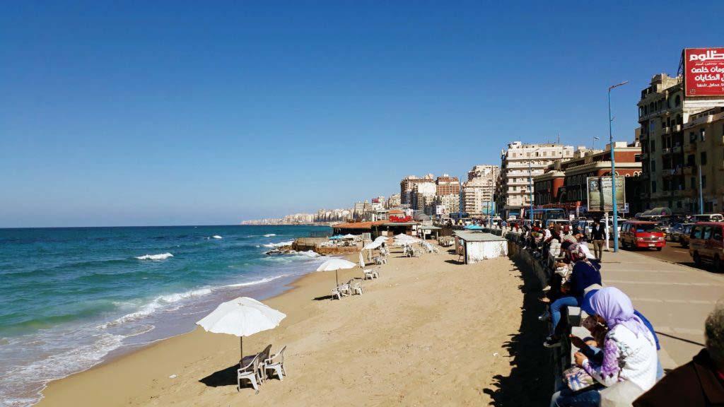 Beach of Alexandria at the Mediterranean Sea