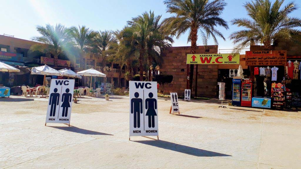 An attempt to make money: As many as five signs indicate the presence of toilets, but just a few meters further...