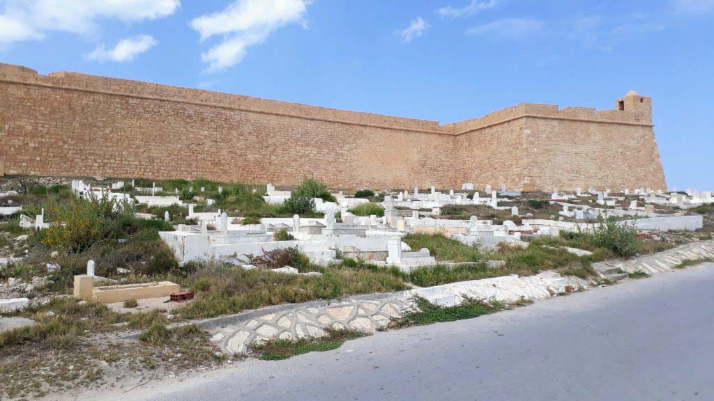 Fortress Al Borj Al Kebir with cemetery of Mahdia