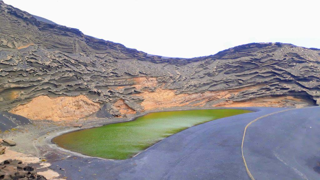 Volcanic crater and lagoon at El Golfo