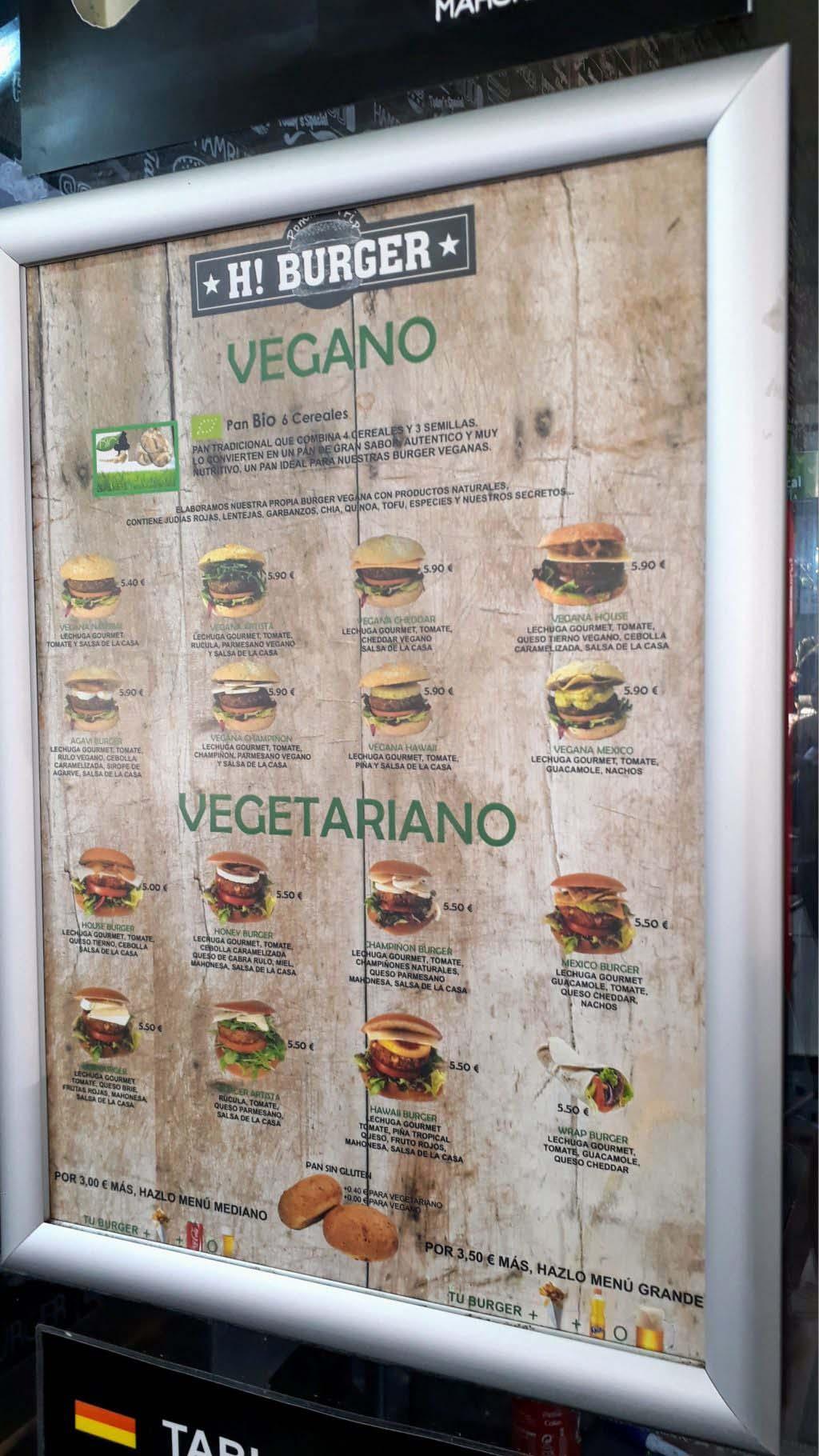 Vegan and Vegetarian Burgers at H! Burgers at Centro Comercial Las Terrazas