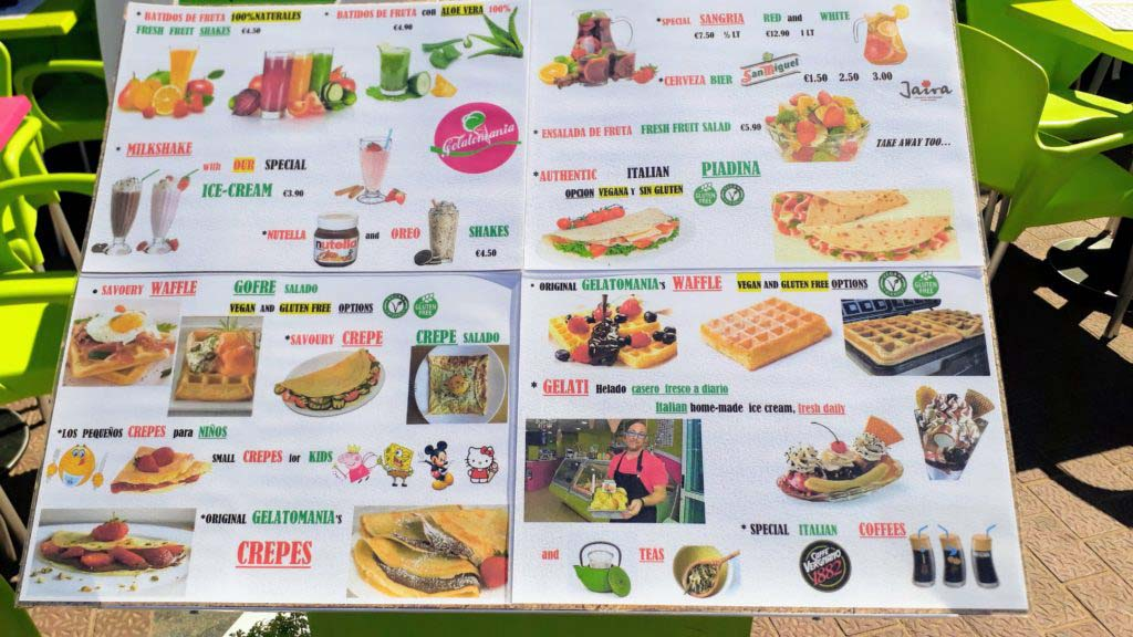 All kinds of vegan choices in Puerto de Mogán on Gran Canaria