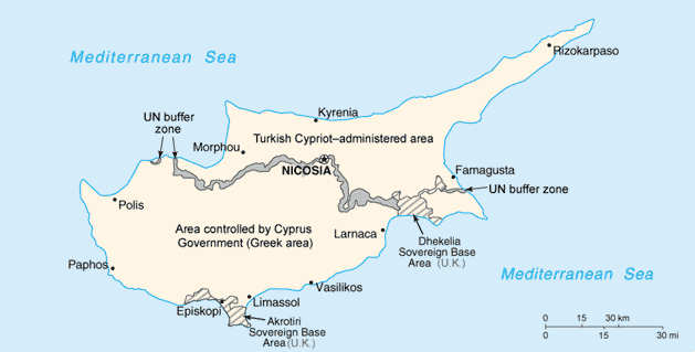 Divided Cyprus: The north is dominated by the Turkish Republic of Northern Cyprus, the south by the Republic of Cyprus