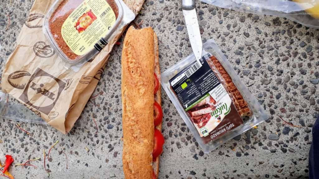 ...and to eat: Baguette with smoked tofu and tomatoes