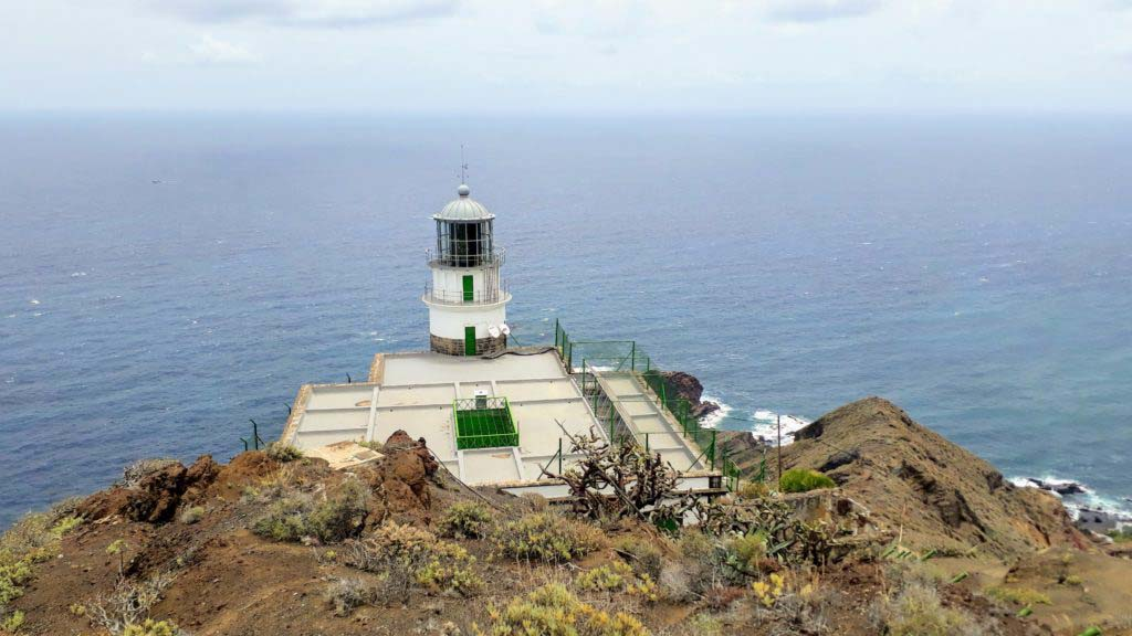The lighthouse Faro de Anaga in the Anaga mountains of Tenerife