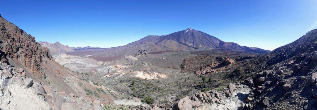 Panoramic view over the volcanic Caldera de Las Cañadas del Teide up to the Teide