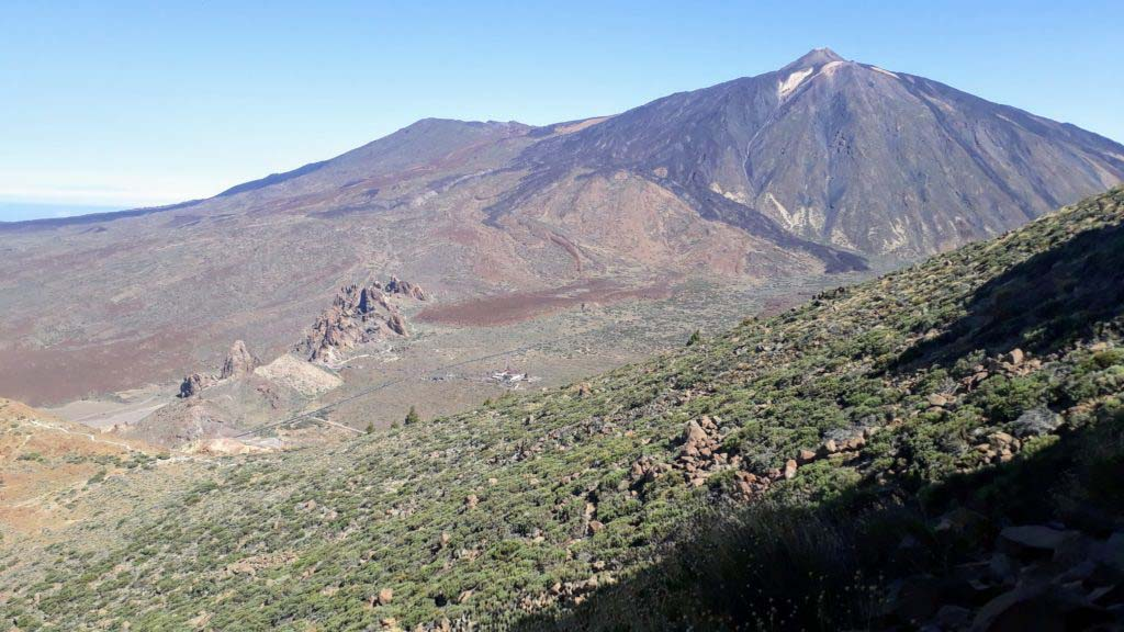Panoramic view from the summit of Alto de Guajara over the national park and the Roques de García to the Teide