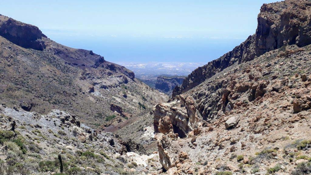 View from the pass Degollada de Guajara over the south coast of Tenerife