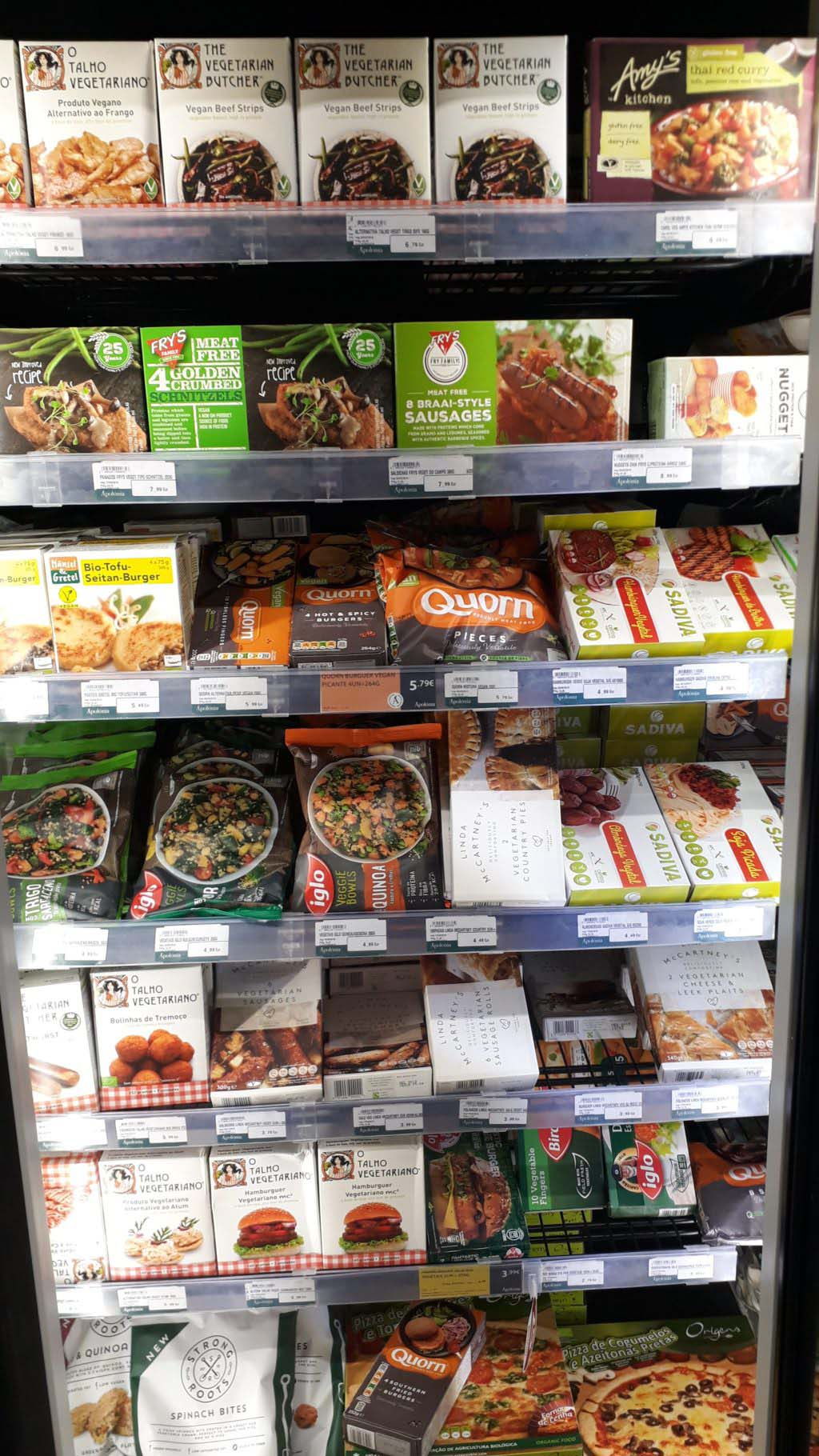 Various ready meals from international brands like the Vegetarian Butcher, Amy's, Fry's, Quorn and inglo