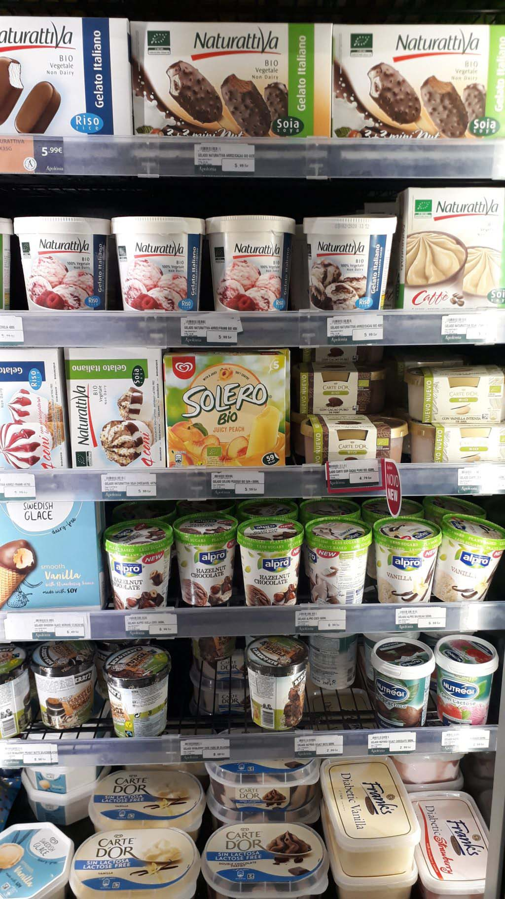 A pretty big selection of vegan ice cream