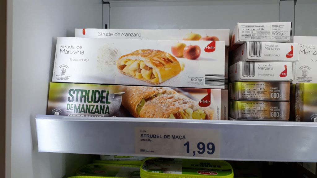 Apple strudel, frozen