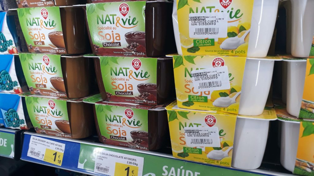 Own brand Nat & Vie soy puddings and yoghurt