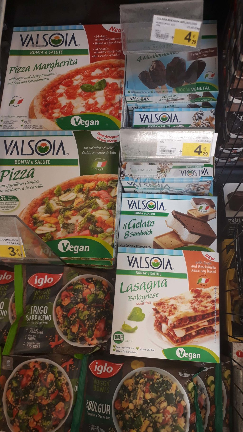 Vegan frozen pizzas, lasagna and various ice creams from Valsoia, Veggie Bowls from iglo