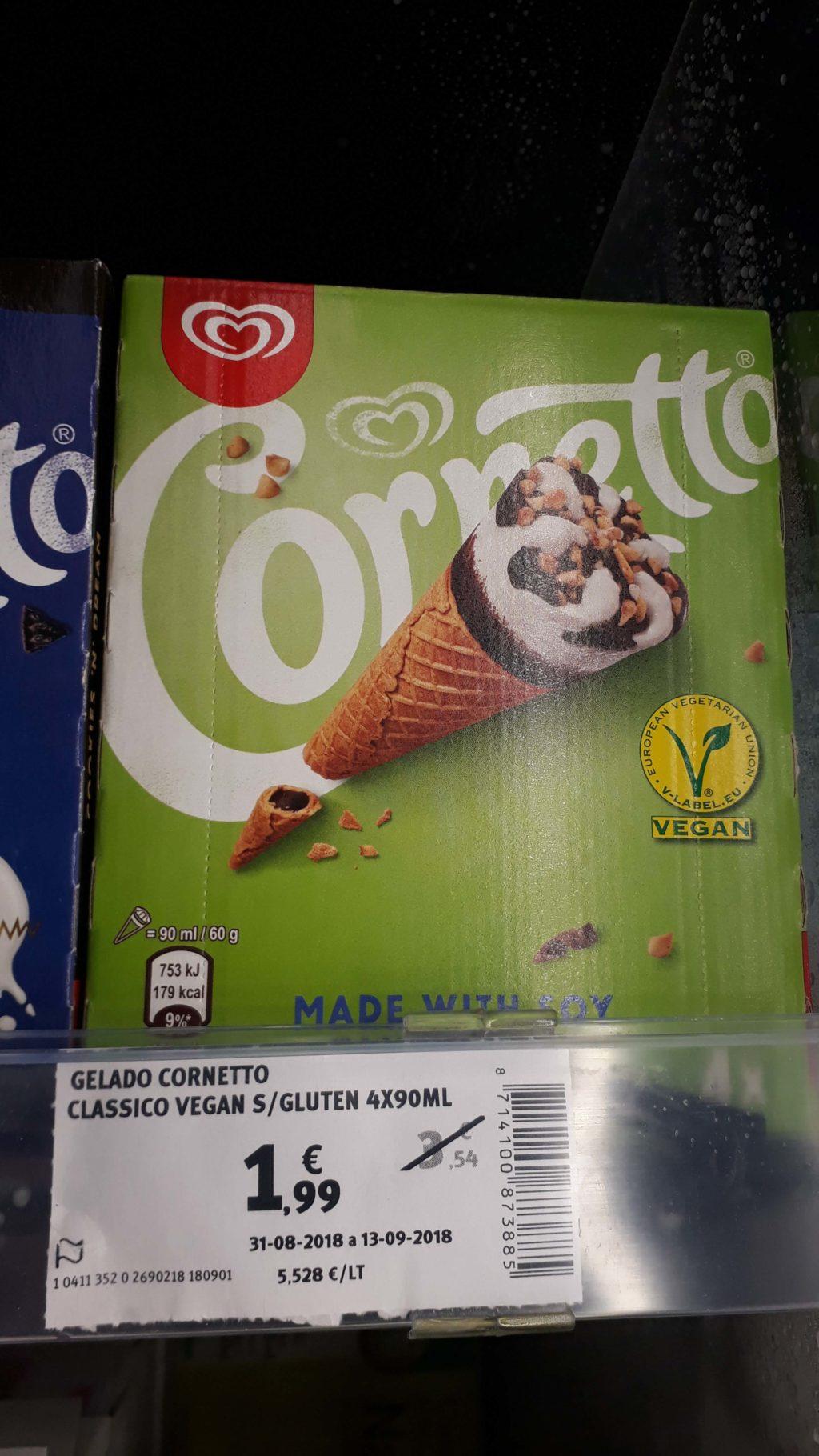 Vegan and gluten-free cornetto ice cream
