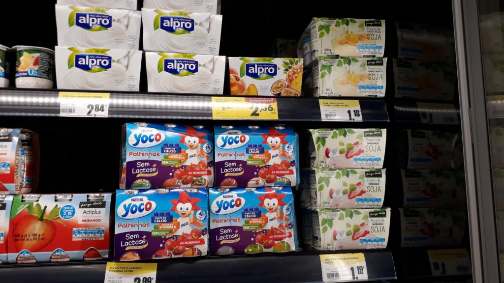 Vegan yogurts (top row and right side)