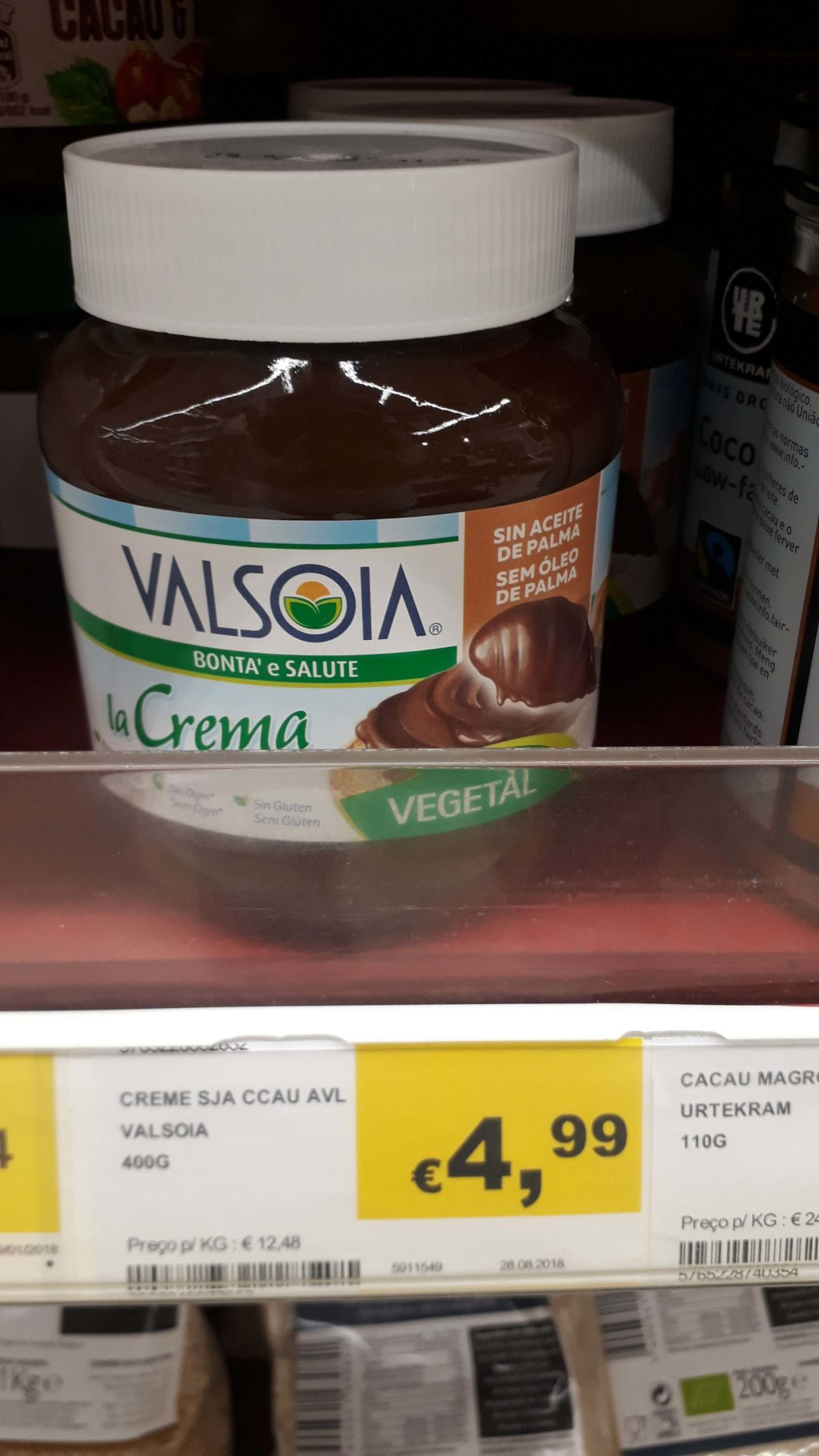 Chocolate spread from Valsoia without palm oil