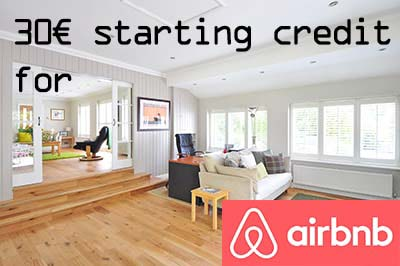 30€ starting credit for airbnb