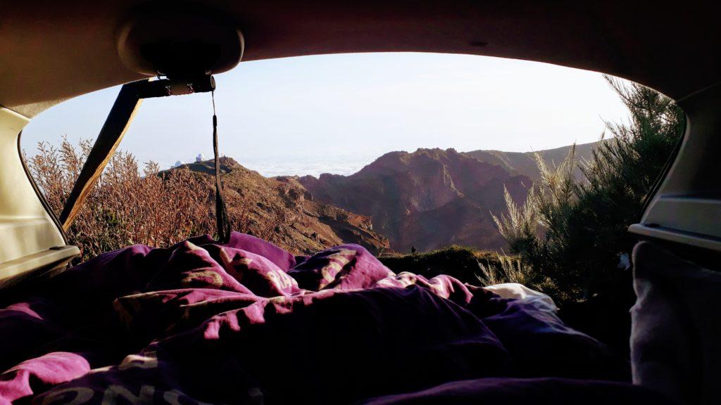 ...y acurrucarse en la cama de nuevo por un momento para disfrutar de la vista