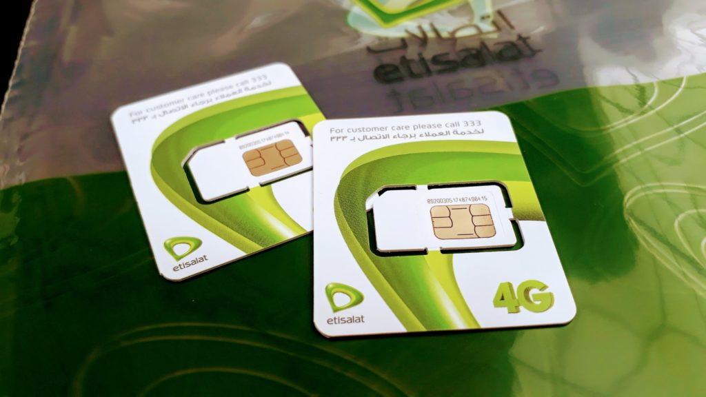 Tarjetas SIM de Etisalat