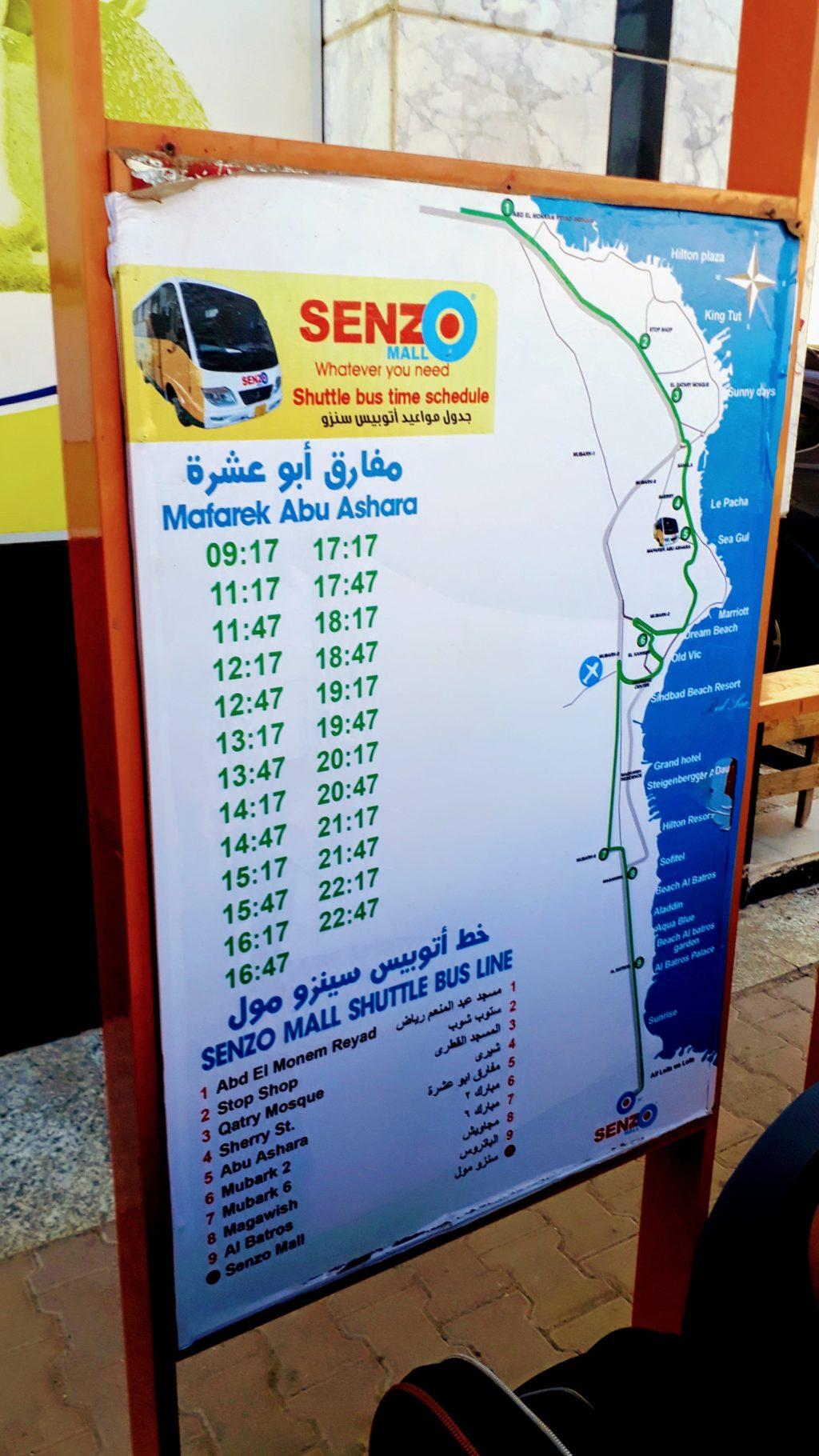 Horario del servicio de autobús de Senzo Mall en Hurghada