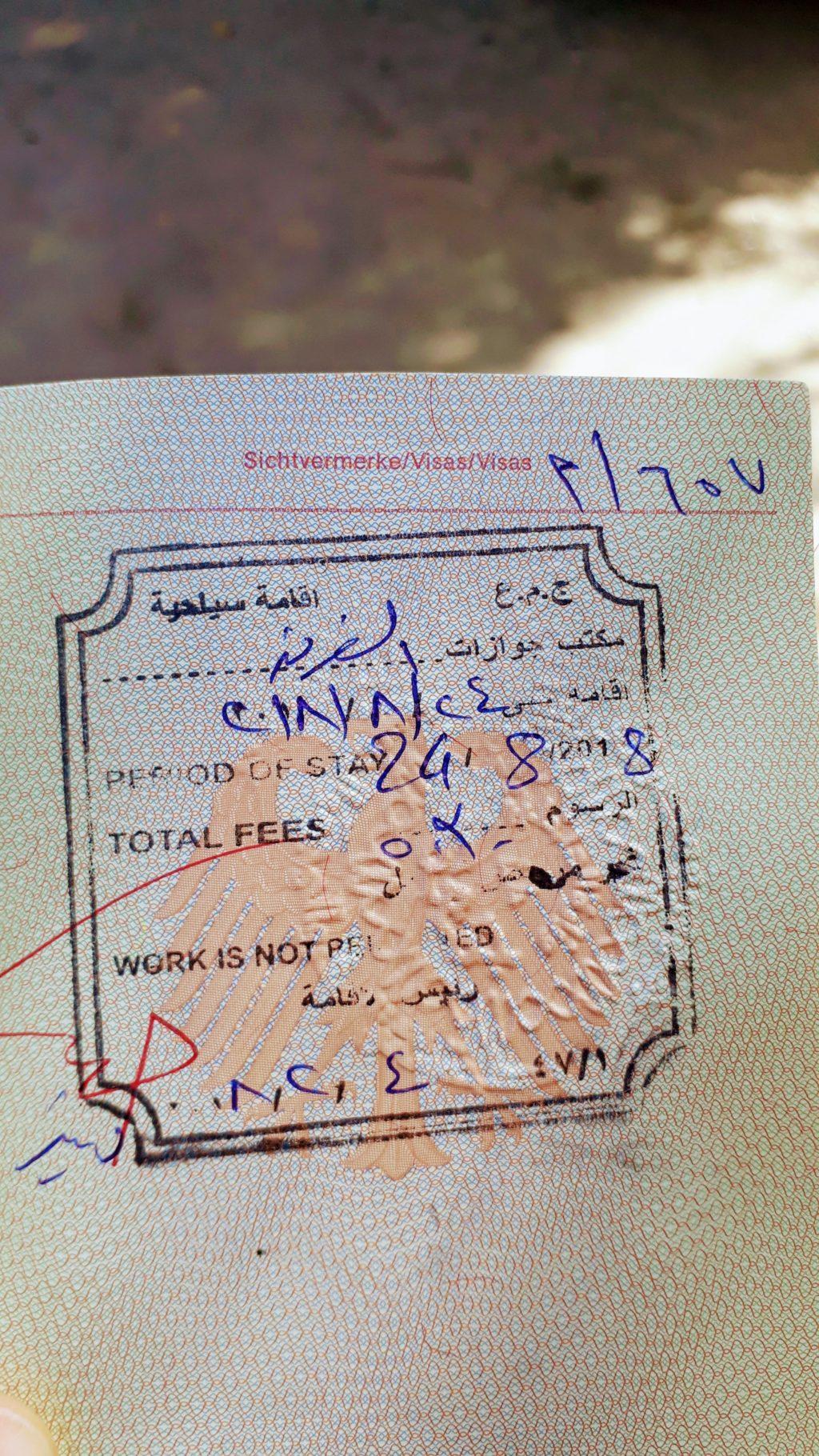 Visa extendida en el pasaporte