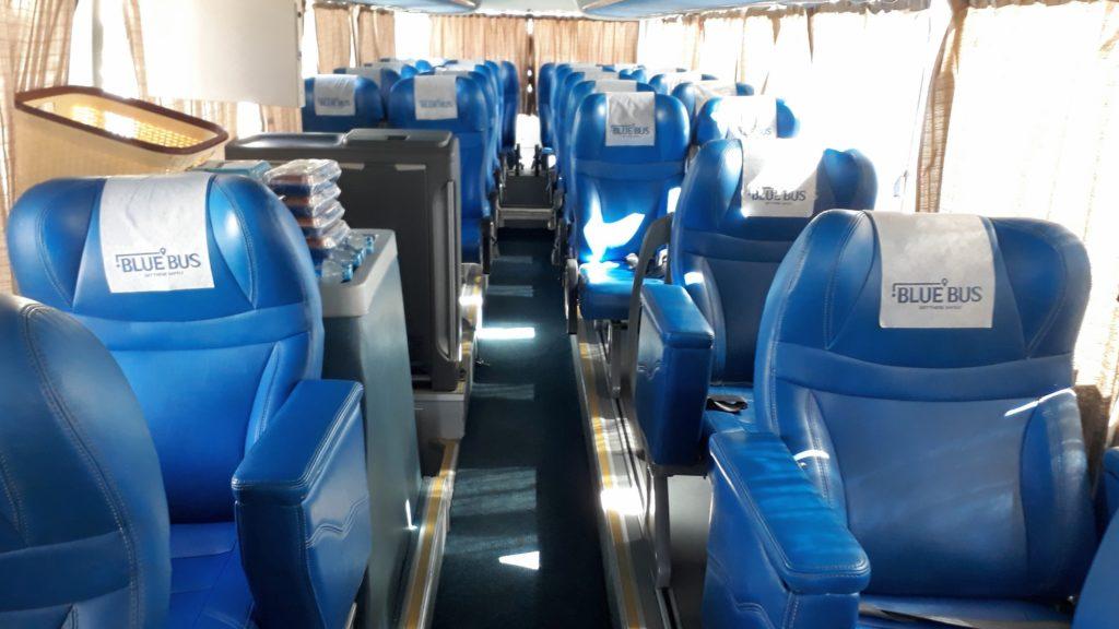 Asientos de primera clase de Blue Bus