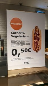 Hot dog vegano en IKEA en Portugal por 50 centavos