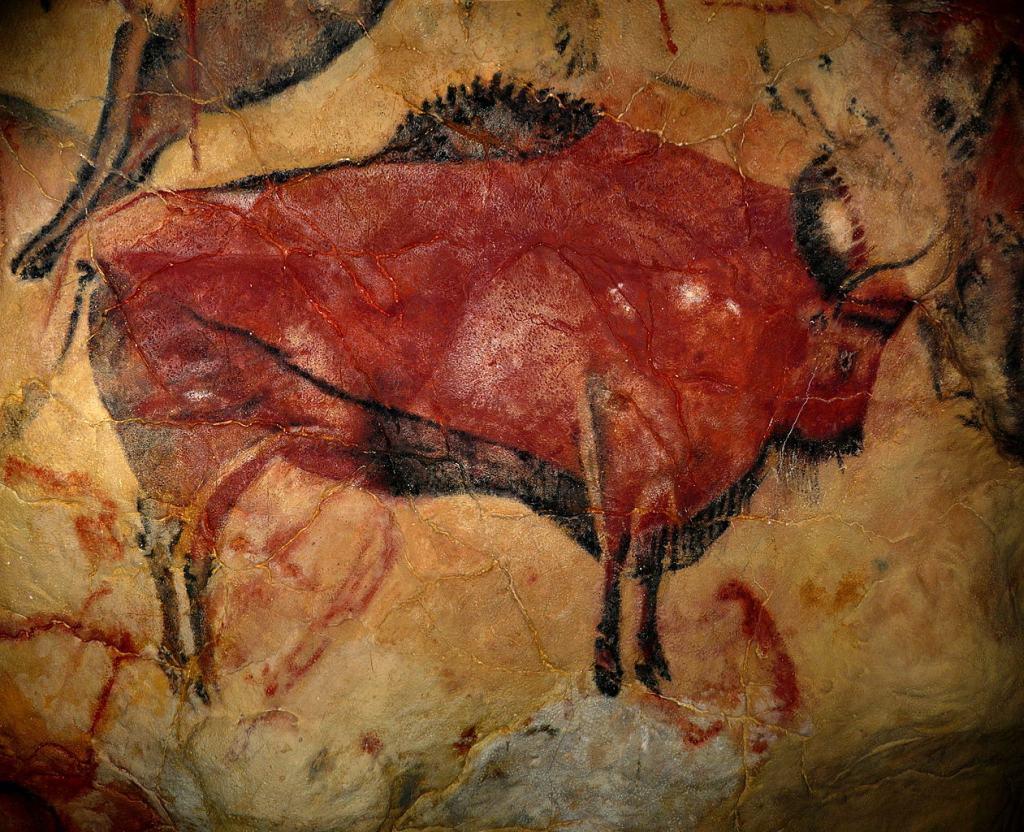 Pintura rupestre de un bisonte de estepa en la cueva de Altamira