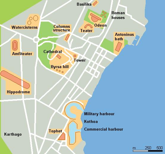 Mapa aproximada de la antigua Cartago